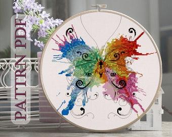 Watercolor Butterfly - Cross Stitch Pattern PDF, cross stitch insects, back-stitch,backstitch, modern cross stitch