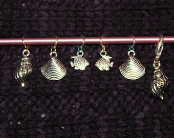 Sea Themed Charm Stitch Markers and Progress Keeper for Knitting