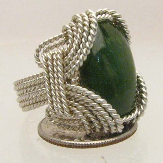 Handmade Solid Sterling Silver Wire Wrap Green Moss Agate Ring