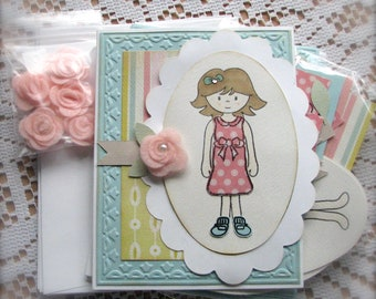 DIY    Girl   Any Occasions Greeting Card Set    Set of 6   Shipping Included