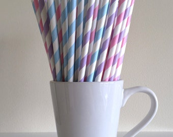 Pink, Purple, and Blue Striped Paper Straws Gender Reveal Party Supplies Party Decor Bar Cart Cake Pop Sticks Mason Jar Straws Graduation