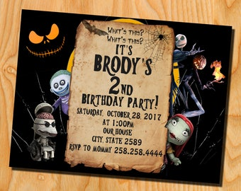 The Nightmare Before Christmas Birthday Party - The Nightmare Before Christmas Invitation -  Halloween invitation