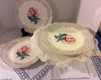 On Sale! Vintage Set of 3, Sabin China Cathy Rose, 22 K Warranted Gold Plate, USA, Shabby Chic