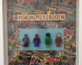 Handmade Personalised scrabble Picture Frame Lego Superheroes Grandad Dad Brother Son Birthday Fathers Day