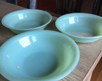 Vintage Fire King Jadeite Jadite Jane Ray Cereal Bowls- Set of 3