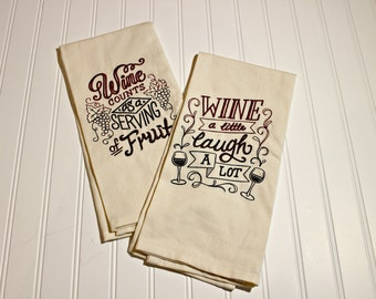 Kitchen Towel, Tea Towels, DishTowels, Set of Two Embroidered Dish Towels, Personalized, Wine Themed