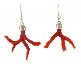 Mediterranean red coral earrings