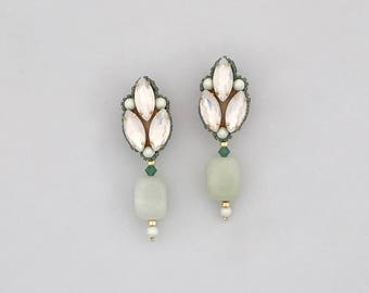 Green, opal and gold semi precious earrings, Gold opal and green wedding earrings