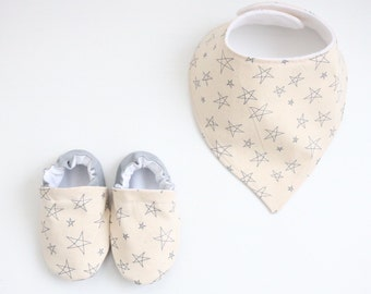 Cream and Grey Scribble Star Fabric - Handmade Booties or Bib and Bootie Set