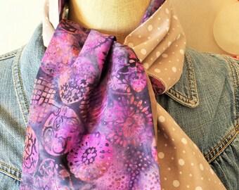 Scarf * Patchwork * violet, taupe, Indonesian Batik