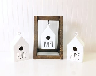 rae dunn inspired birdhouse and stand | complimentary piece for rae dunn collectors, spring decor, birdhouse decor, home sweet home | birds