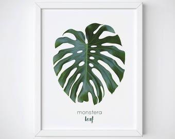 Monstera Art Print, Monstera Leaf Print, Monstera Wall Art, Leaf Print, Tropical Art Print, Leaves Printable, Tropical Wall Decor