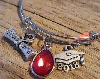 Graduation Charm Bracelet, high school graduation, college graduation, personalized gift, Class of 2018