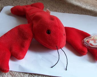SPECIAL OFFER1 ~ Vintage Ty Beanie Baby - Pinchers The Lobster - Number 4026 ~ PVC Pellets