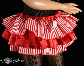 Clown pirate ruffle mini skirt carnival red white stripes layered dance costume halloween -- You Choose Size - Sisters of the Moon