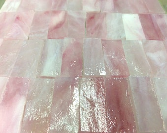 25 PINK ANGEL MIST Borders - 3/8 X 1 Stained Glass Mosaic Tile J6