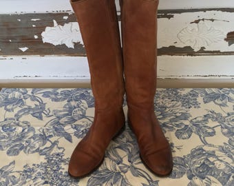 Vintage Medium Brown All Leather Boots - Joan & David 36.5 Styleized Riding Boots