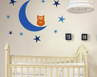 Nursery wall decal-Kids wall decal-Girls decal-Boys decal-Baby nursery wall decor-Moon decal-Stars decal-Owl decal-40 X 50 inches