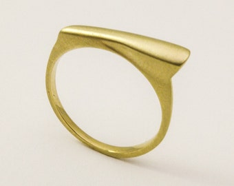14 karat solid gold signet ring, Geometric gold ring, Unique wedding ring, Simple gold ring for women, Thin 18 k gold ring, Modern gold ring