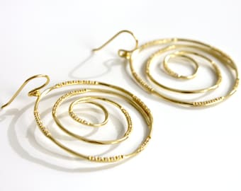 Spiral Earrings with cubic zirconia
