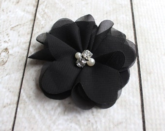 2.5 inch Chiffon Pearl and Rhinestone Flower in Black - Flower Head for Headbands and DIY Hair Accessories