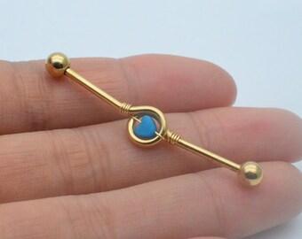 industrial barbell,heart industrial barbell,rocker friendship earrings