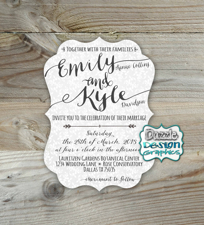 Casual Wedding invitation Elegant fonts Die Cut