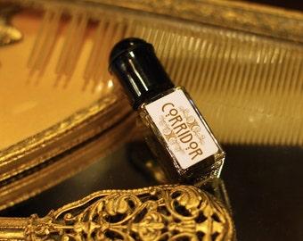 Natural Perfume,  CORRIDOR, amber, moss, jasmine, incense, tobacco, essential oils, botanical perfume, organic natural perfume