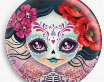 Needle Minder - Licensed Art By Sandra Vargas - Camila - Sugar Skull - Day of the Dead - Cross Stitch Keeper - Fridge Magnet