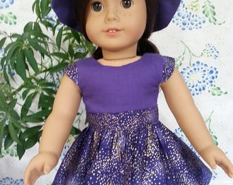 "Purple Dress With Gold Highlights and Matching Hat for American Girl and 18"" Dolls"