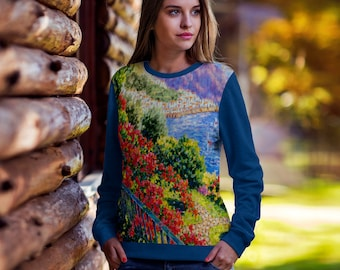 Diane Monet - View From Hotel Santa Cataune - All Over Print Sweatshirt - Royal Blue