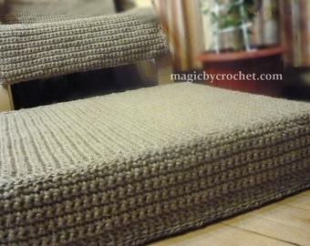 Jute Ottoman, Large Floor Cushion, Rectangular, Stuffed Ottoman, Floor Seating Cushion, Crochet Pouf, Footstool, 66 cm