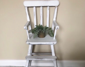 Adorable White Vintage/Rustic Babydoll  Highchair Wooden White/ Babydoll Highchair /American Girl Highchair /Kids Bedroom Furniture /