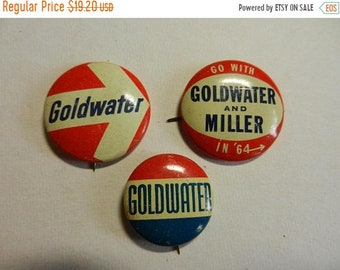 Spring Sale 3 Vintage Barry Goldwater Campaign Buttons