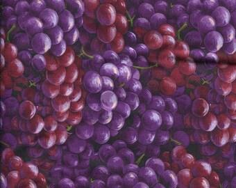 "Vegetable Fabric, Fruit Fabric: Farmer's Market - Farmer John's Organic Grape Packed 100% cotton fabric by the yard 36""x44"" (N509)"