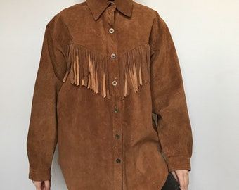 Leather vintage fringe tassels cowboy shirt jacket size M