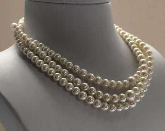 Triple Row Kiska Pearl Necklace 10MM Pearls