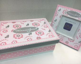 Pink and Gray Flowered Keepsake Box and Frame to Match  - Newborn, First Birthday,  Baptism, Bris