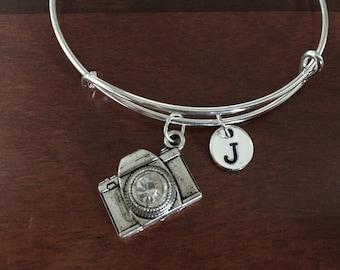 Camera w/rhinestone initial bracelet, camera jewelry, gift for photographer, silver bracelet, photographer bracelet, camera pendant bracelet