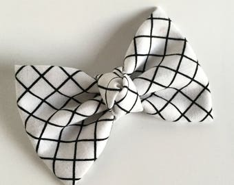 Fabric Bow - White Grid - Black and White