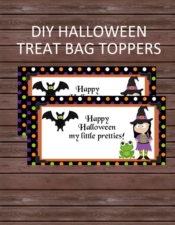 DIY Halloween Treat Bag Toppers, Instant Download, Happy Halloween, Polka Dots, Witches, Frogs and Bats