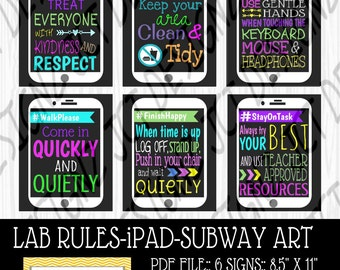 INSTANT DOWNLOAD, Computer Lab Rules, iPad Art, Technology Rules, Subway Rules, JCTDesignz, computer lab, rules sign, Subway Art Rules
