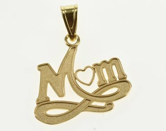 14k Mom Mother Heart Wavy Infinity Accent Pendant Gold
