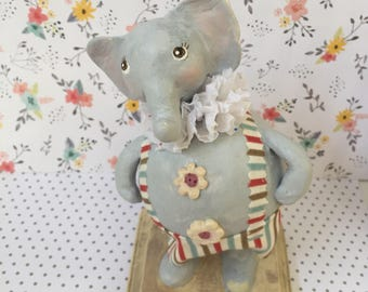 Elephant paper mache clay folk art // Decor Birthday //