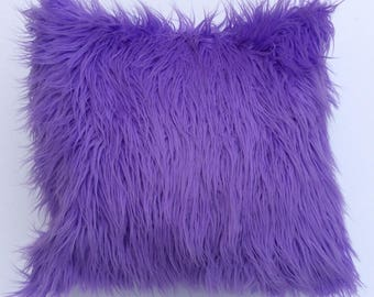 Faux Fur Pillow, Lavendar Throw Pillow Cover, Purple Toss Pillow, Lavendar Fur throw pillow, Fur pillow cushion, mongolian faux fur cushion