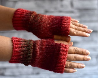 Red wool wrist warmers, knit fingerless gloves, office gloves, thin mittens, snug driving gloves, bicycle gloves, striped wristwarmers