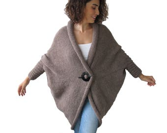 Plus Size Over Size Alpaca Wool Hand Knitted White Coffee Wrap Sweater Cardigan