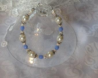 White Pearl and Cornflower Blue Crystal Bridal Bridesmaid Bracelet