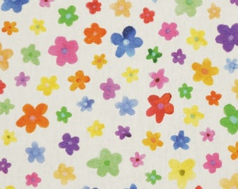 Solid cotton fabric with colorful flowers - 100% pure cotton