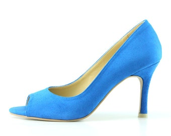 Something Blue Wedding Shoes Cobalt Blue Bridal Shoes Electric Blue Bridesmaid Shoes Dark Blue Heels Classic Suede High Heels